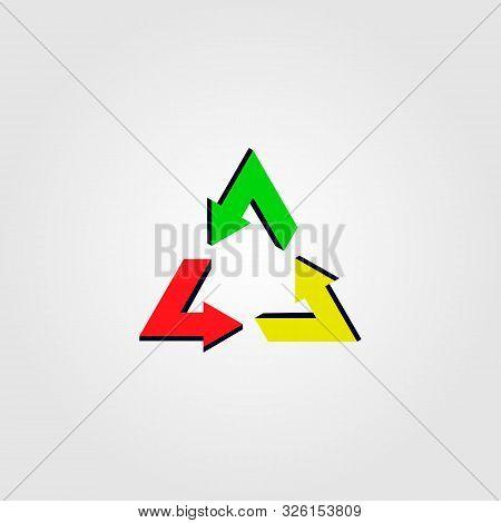 Recycle Reggae Logo Icon Vector Rastafarian Color Style
