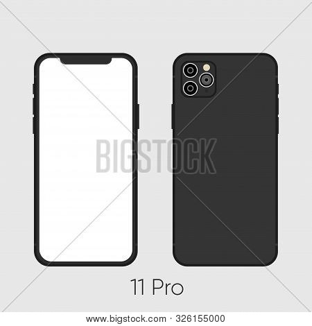 Newly Released Black Smartphone 11, Frond And Back Sides Isolated On Gray.