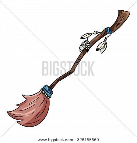 Cute Broomstick Doodle. Happy Halloween Related Icon - Magic Broom. Vector Isolated Symbol. Cartoon