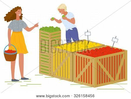 Female Character Vector, Isolated Woman With Basket Buying Food From Store. Salesperson With Differe