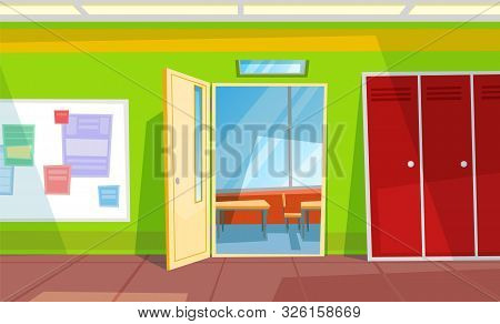 Entrance In Classroom, Locker And Whiteboard With Paper. Desktop With Chair, Educational Place, Nobo
