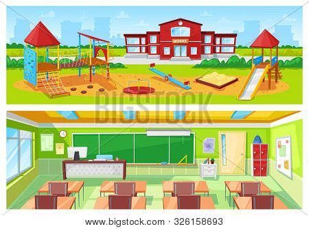 School Yard And Classroom Vector, Room Interior And Exterior Of Building. Carousel For Kids And Sand