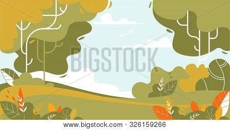 Summer Time Tranquil Landscape Of Forest And Green Meadow With Grass And Bushes. Nature Background W