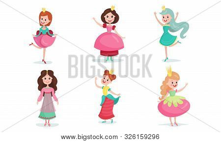 Set Of Vector Illustrations With Little Girls Wearing Fairy Princesses Costumes Cartoon Characters