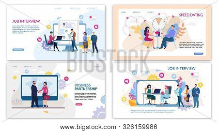 Trendy Flat Landing Page Set For Online Services. Speed Dating For Lonely People, Business Meeting O