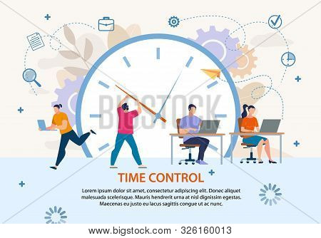 Time Control And Planning. Project Management And Workflow Development. Profitable Business. Flat Po
