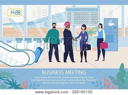 Business Meeting In Airport Organization Advertising Flat Poster. Cartoon Office Female Team Secreta