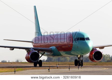 Borispol, Ukraine - September 10, 2019: Ur-wrh Wind Rose Aviation Airbus A321-200 Aircraft In The Su