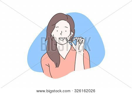 Oral Cavity Homecare, Teeth Whitening Concept. Smiling Girl Using Dental Whitener, Young Woman Holdi