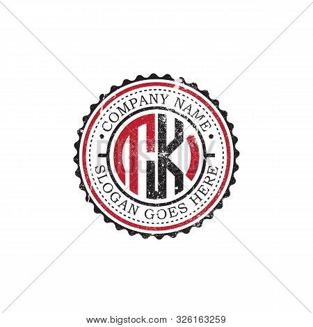 T K Initial Logo Inspirations,vintage Badge Logo Design, Letter Logo Template