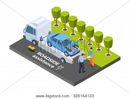 Tow Truck Isometric. Vector Roadside Assistance Concept. Illustration Evacuation Truck, Vehicle Tran