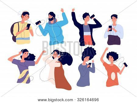 People Listen Music With Earphones. Happy Young Men And Women With Headphones And Smartphone Isolate