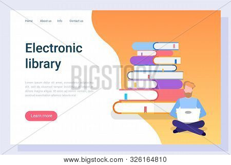 Electronic Library, Man Communication With Laptop, E-learning Icon. Reader Character With Computer,