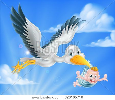 Cartoon Stork Bird Animal Character Flying Through The Sky Holding A Newborn Baby. Classic Myth Of S