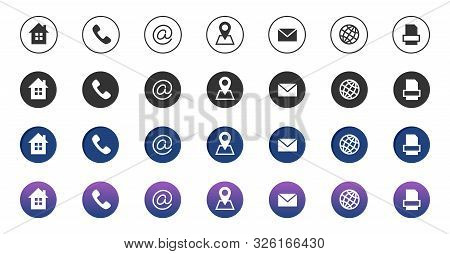 Contact Icons. Information Business Communication Symbols Collection. Call Internet Location, Addres