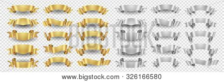 Ribbon Banners. Gold Silver Ribbons Vector Set. Metallic Banners Isolated On Transparent Background.