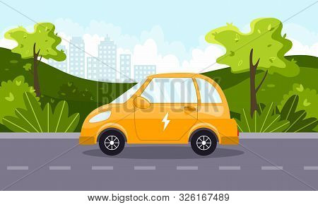 Yellow Electric Car Goes Out Of Town. Modern Technology.  Natural Landscape. Concept Of Preserving T