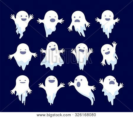 Ghost. Halloween Spooky Phantom, Scary Spirits. Mystery Dead Monsters Cartoon Vector Ghostly Charact