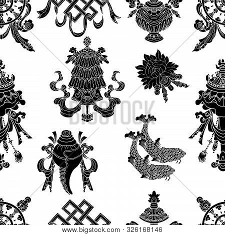 Seamless Pattern With Eight Black Auspicious Symbols Of Buddhism. Religious Hand Drawn Vector Illust