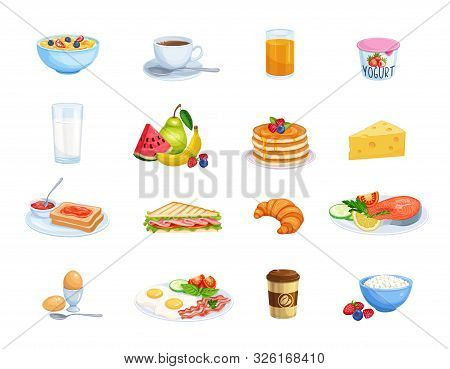 Breakfast Icons. Milk, Coffee Cup, Juice, Fruits, Fish, Sandwich And Fried Eggs. Pancakes, Toast Wit