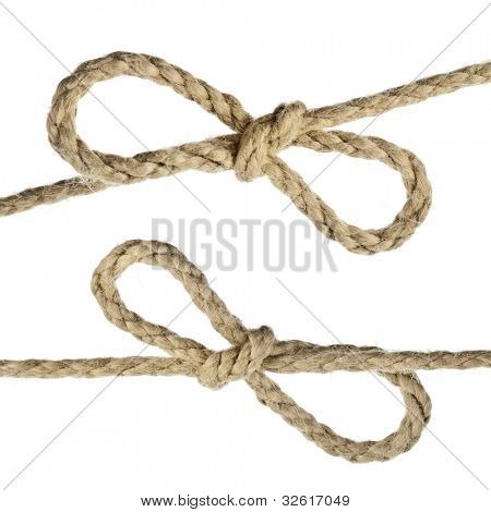 Jute Rope with Bow Knot on white background