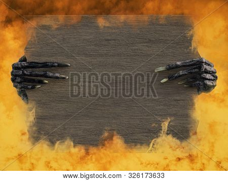 3D rendering of monster or witch hands with long creepy fingernails holding a blank wooden sign with copyspace. Fire in the background. poster