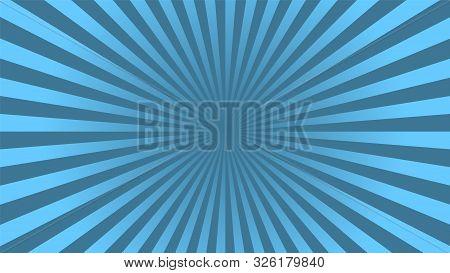 Sun Rays Background. Blue Radiate Sun Beam, Burst Effect. Sunbeam Light Flash Boom. Template Poster