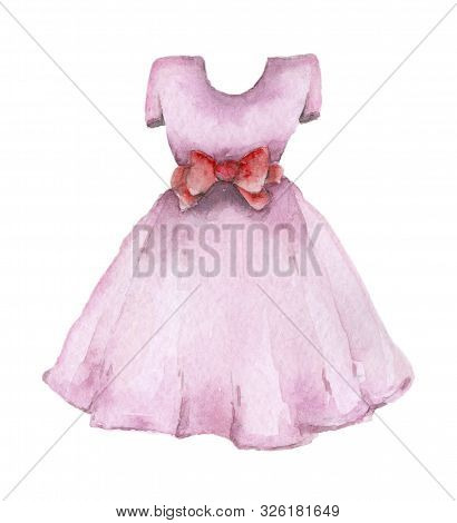 Baby Watercolor Dress. For Small Girl Hand Drawn Watercolor Clothes.