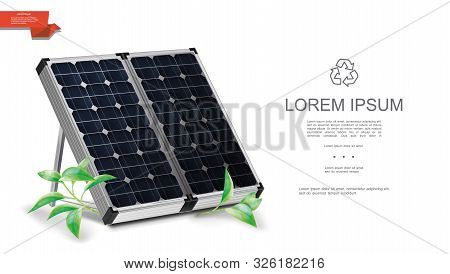 Realistic Renewable Energy Template With Solar Panels And Green Leaves On White Background Vector Il