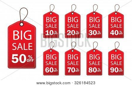 Discount Sale Off Tag 50, 20, 10, 40, 30, 60, 70, 80, 90 Percent.set Label Sale Offer, Badge Price P