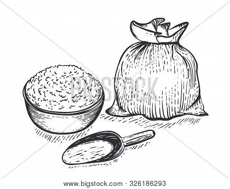Bag Of Burlap With Flour Scoop And Bowl Of Flour On White Background. Hand Draw Vector Illustration