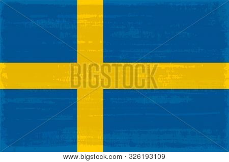 Swedish National Flag Isolated Vector Illustration. Travel Map Design Graphic Element. Europe County