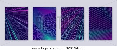 Art Business Card. Abstract Lines Modern Brochure Template. Neon Vibrant Gradients Geometry On Dark