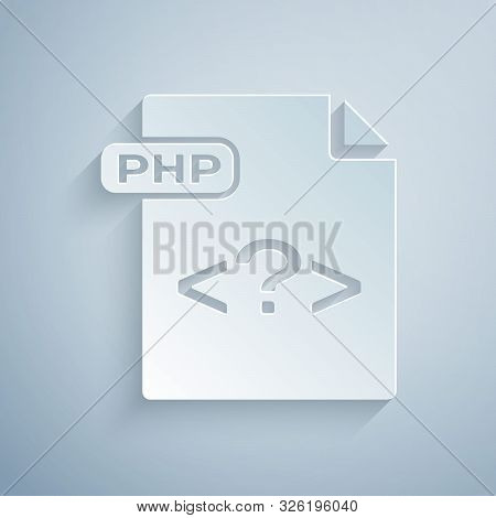 Paper Cut Php File Document. Download Php Button Icon Isolated On Grey Background. Php File Symbol.