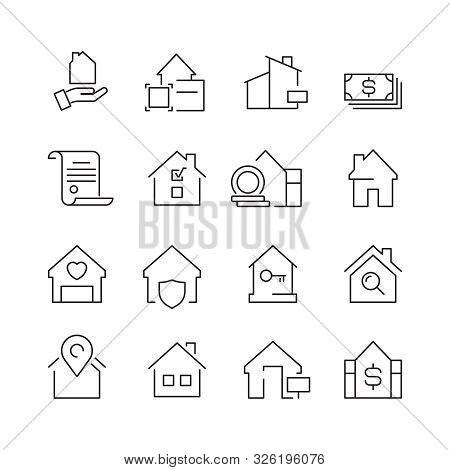 Real Estate Icons. Business Marketing Sale Houses Money Ownership Vector Real Estate Pictures Collec