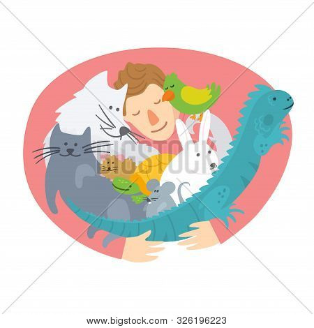 Pet Insurance Logo. Man Hugging Domestic Animals. Pet Care, Veterinary Banner, Background, Poster, C