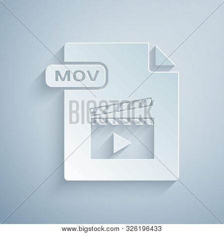 Paper Cut Mov File Document. Download Mov Button Icon Isolated On Grey Background. Mov File Symbol.