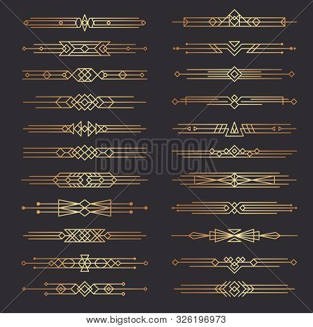 Art Deco Dividers. Lines Shapes Decorative Borders Minimal Swirl Decor 1920s Vector Template Divider