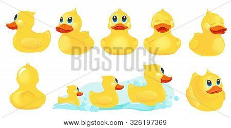 Yellow Bath Duck. Rubber Water Toys For Kids Shower Room Games With Duck Vector Cute Characters. Yel