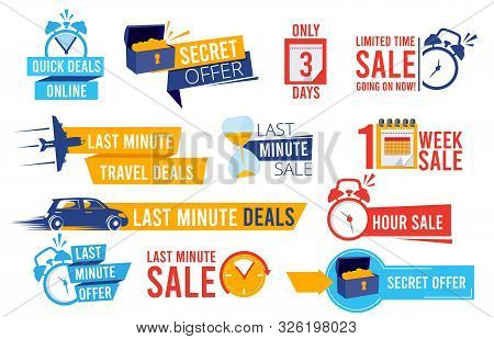 Discount Badges. Advertizing Promo Offers Last Chance Sales Alarm And Clocks Best Deals Signs Vector