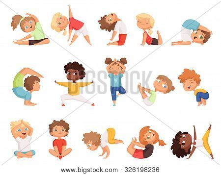 Yoga Kids. Children Making Exercises In Different Poses Healthy Sport Vector Cartoon Characters. Yog