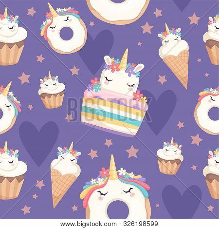 Unicorn Pattern. Dessert Decoration Magic Pony With Cupcakes Donut Sweets Vector Celebration Seamles