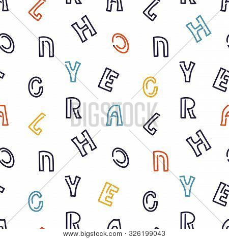 Bright Hand Drawn Letters On White Background. Seamless Pattern For Surfaces .