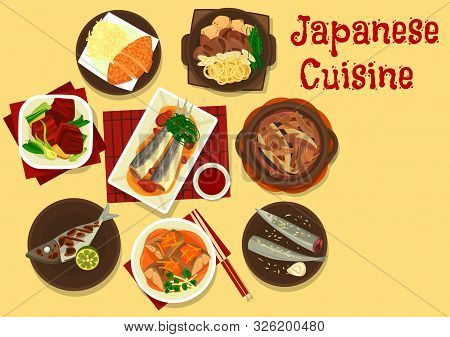 Japanese Cuisine Vector Design Of Asian Fish, Meat And Vegetable Meal. Beef Stew With Noodles, Tofu