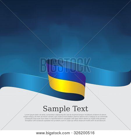 Ukraine Flag Background. Wavy Ribbon Colors Of Ukraine Flag On Blue White Background. National Poste