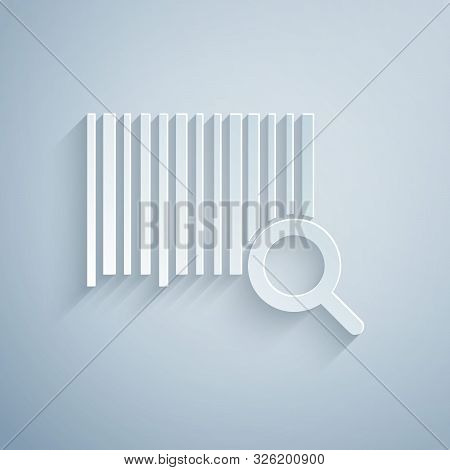 Paper Cut Search Barcode Icon Isolated On Grey Background. Magnifying Glass Searching Barcode. Barco