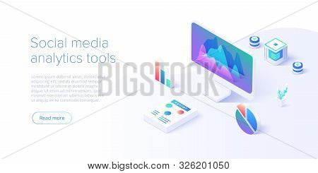 Social Media Analysis Concept In Vector Illustration. User Or Follower Activity And Network Statisti