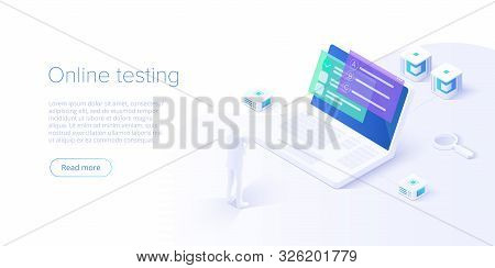 Online Education Concept Vector Illustration In Isometric Design. Internet Distant Training And Cour