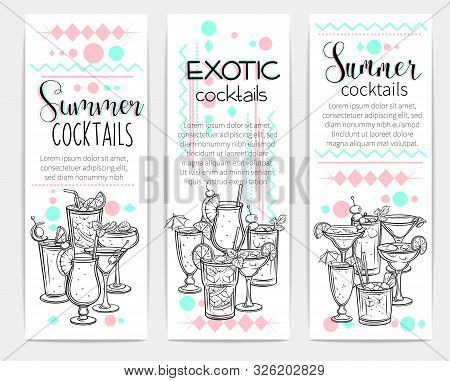 Alcoholic Cocklails Banners. Summer Beach Alcoholic Drinks. Engraving Holiday And Beach Party Vector