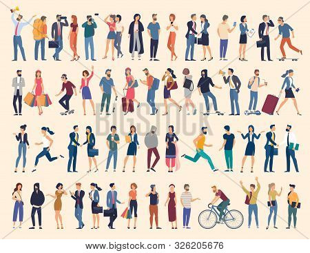 Set Of Vector Ready To Animation People Characters Performing Various Activities. Group Of Men And W